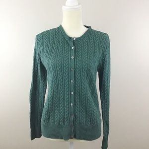 Eddie Bauer Braided Cable Knit Cardigan Sweater